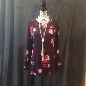 Flower print tunic style top